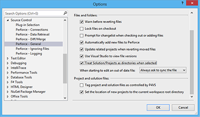 p4vs plugin options menu