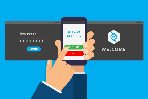 two-factor authentication illustration. Approval notification message on a mobile phone.