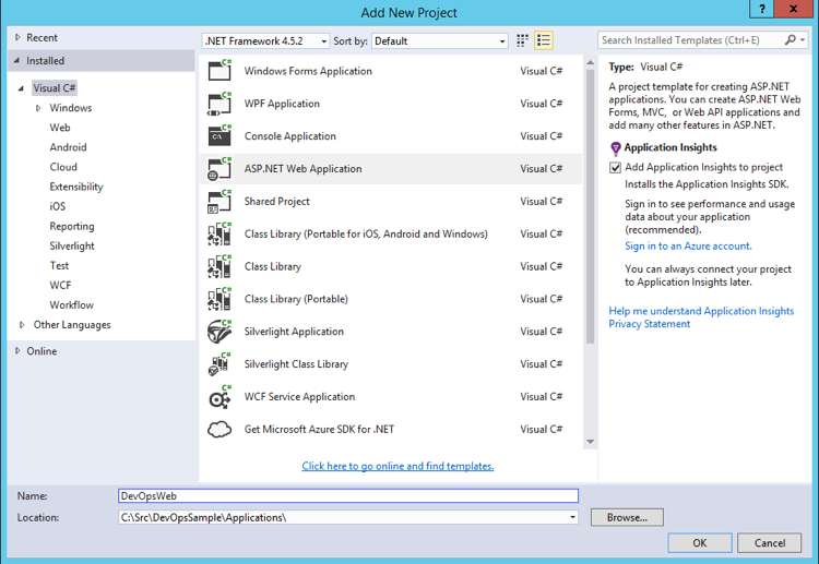 Create a New Project in VS2015