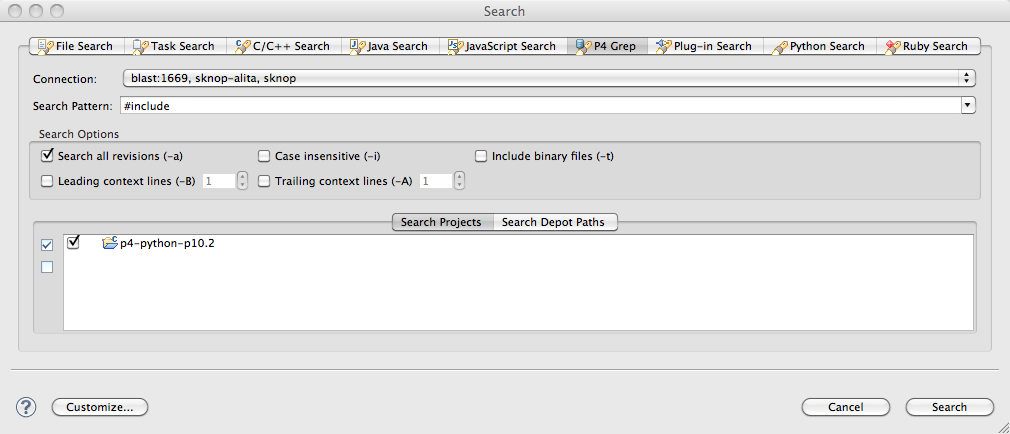 Search dialogue in Eclipse