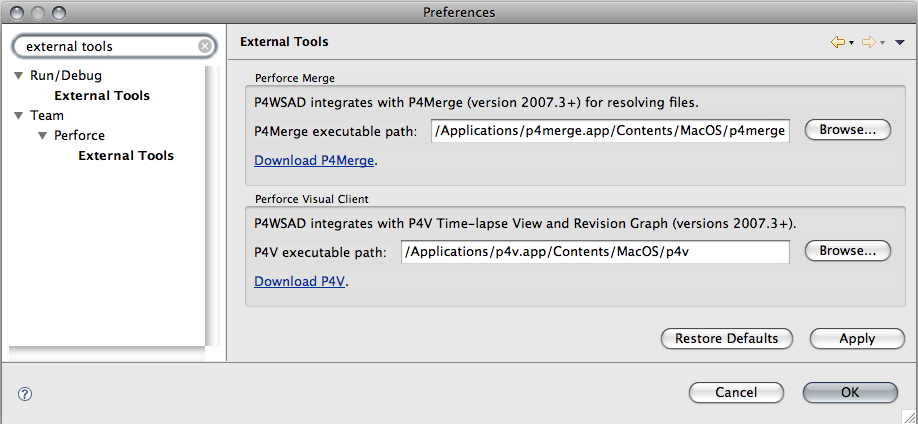 P4WSAD External Tools preference page for P4V/P4Merge