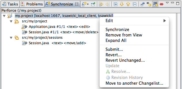 Synchronize view showing refactoring using 'p4 move' command