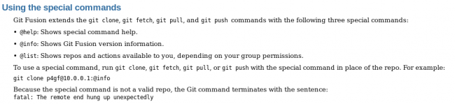Special commands in Git Fusion